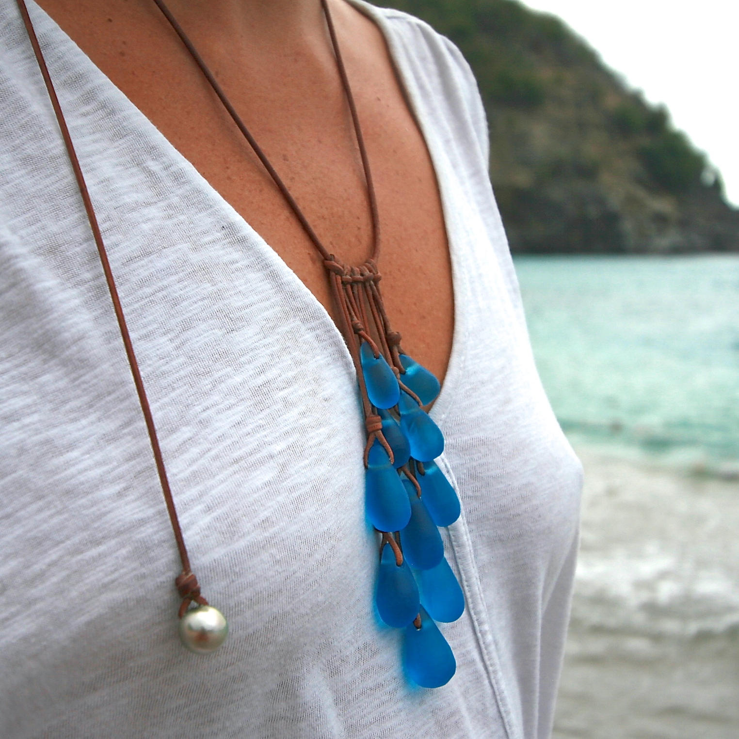 Sea Glass Drops Necklace Handmade Beach Glass Jewelry