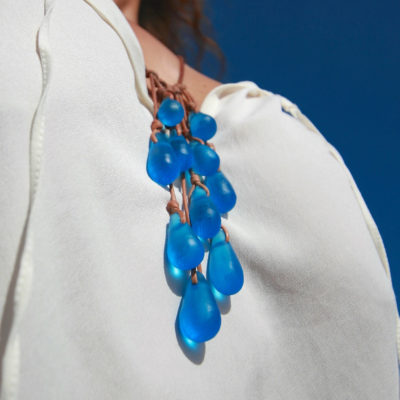 sea glass leather necklace jewelry st barth