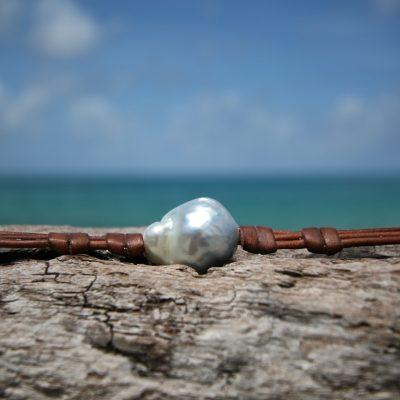 Pearls leather bracelet St Barth jewelry