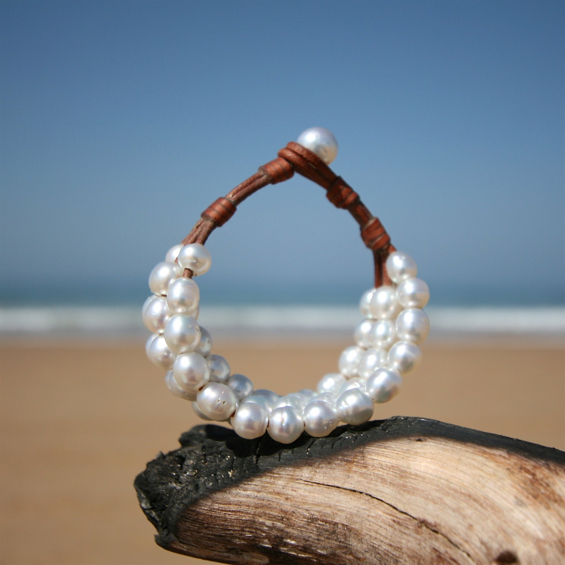 leather pearls St Barths jewelry bracelet