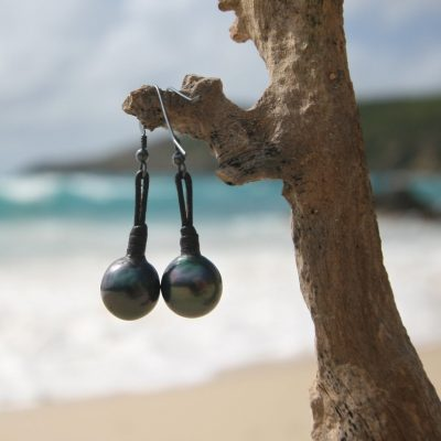 Black pearls earrings St Barts jewelry