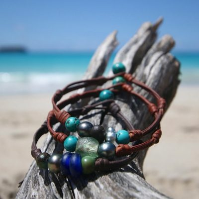 St Barthelemy island leather men's bracelet