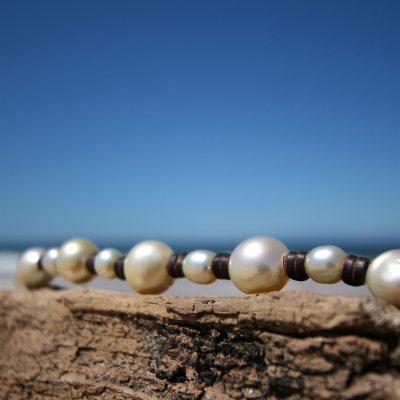 pearls leather bracelet St Barths jewelry