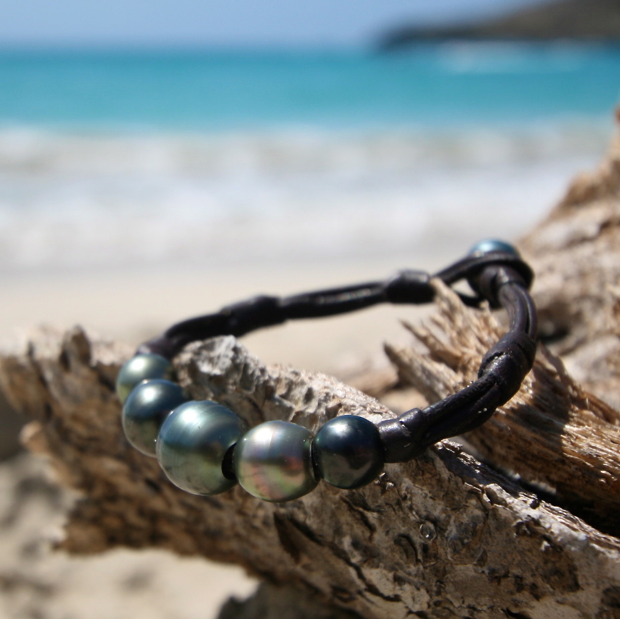 black pearls leathered jewelry St Barth