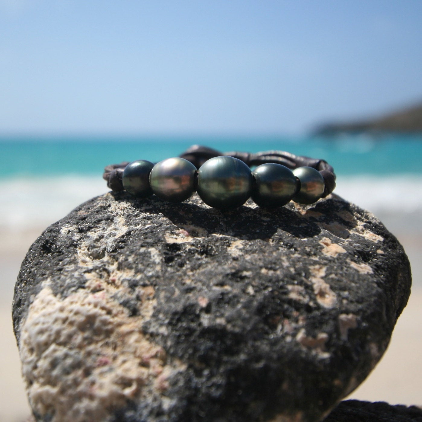 leather and black pearls jewelry St Barth