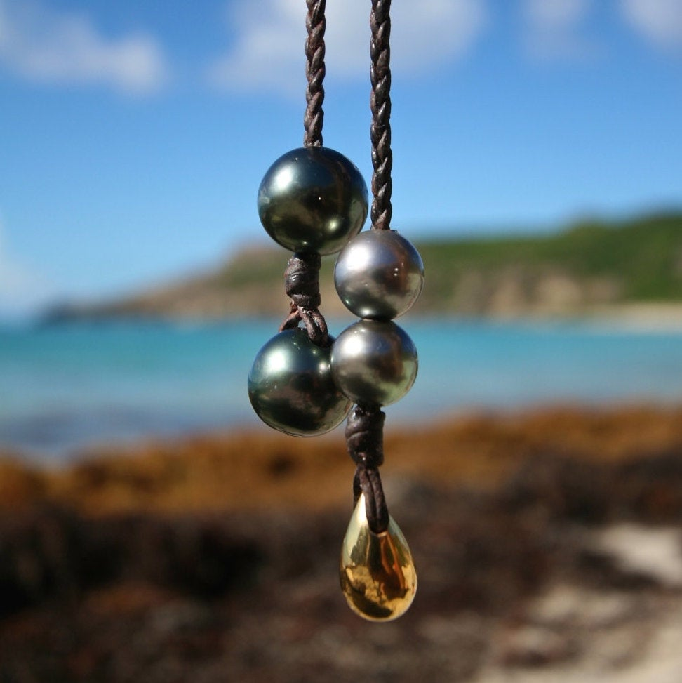 St Barth pearl and leather jewelry
