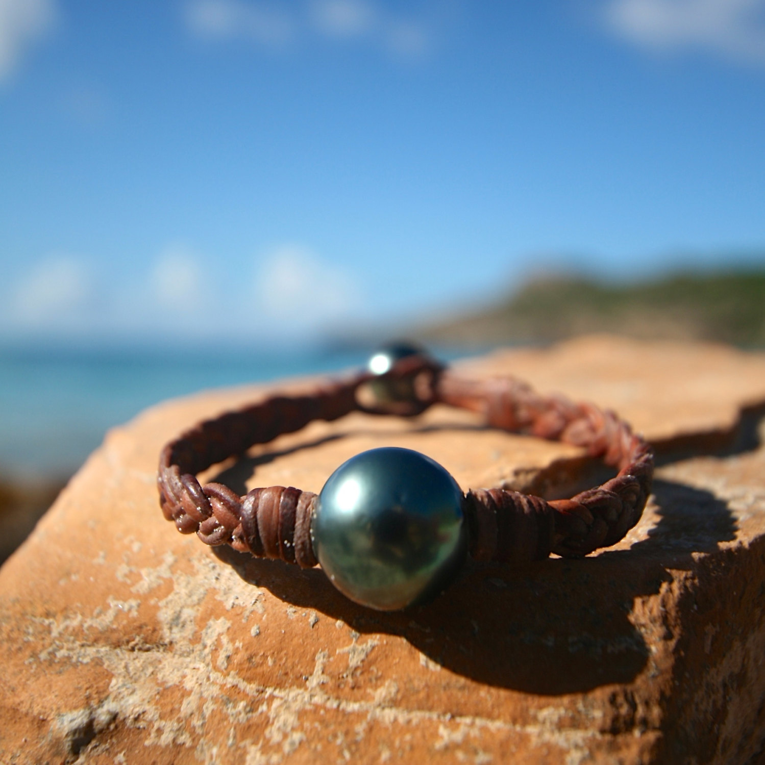 St barth jewelry pearls leather bracelet