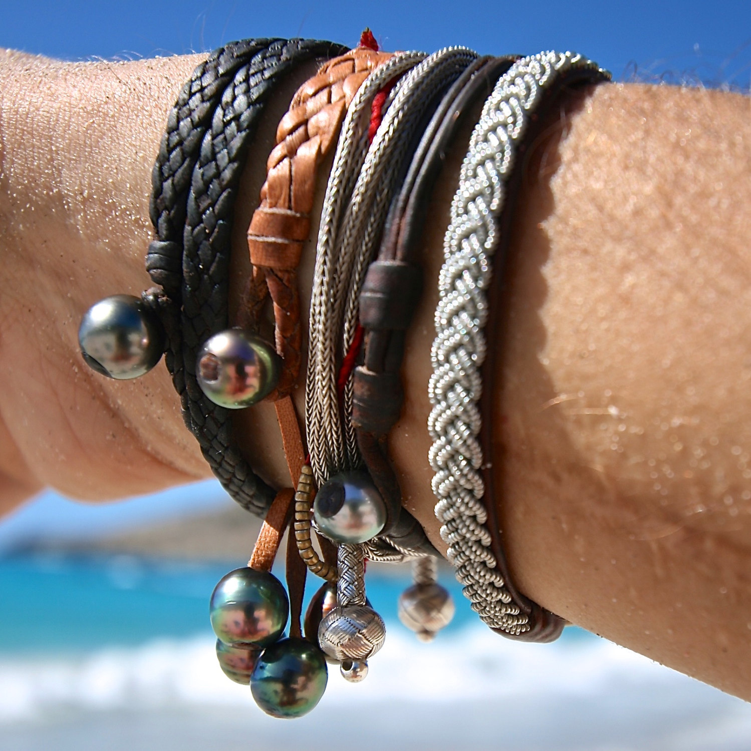 St Barths jewelry stacked leather bracelets