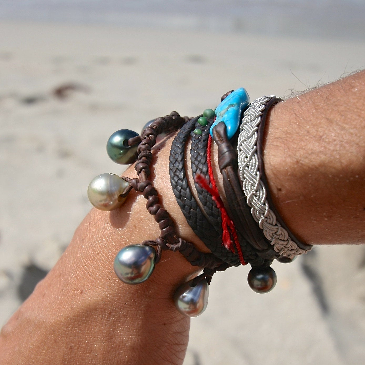 leather bracelet stack st barths jewelry