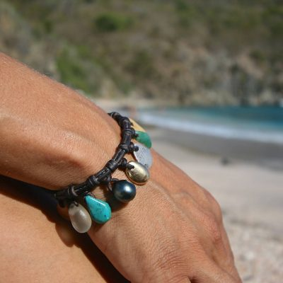 leather bracelet and pearls from st barth