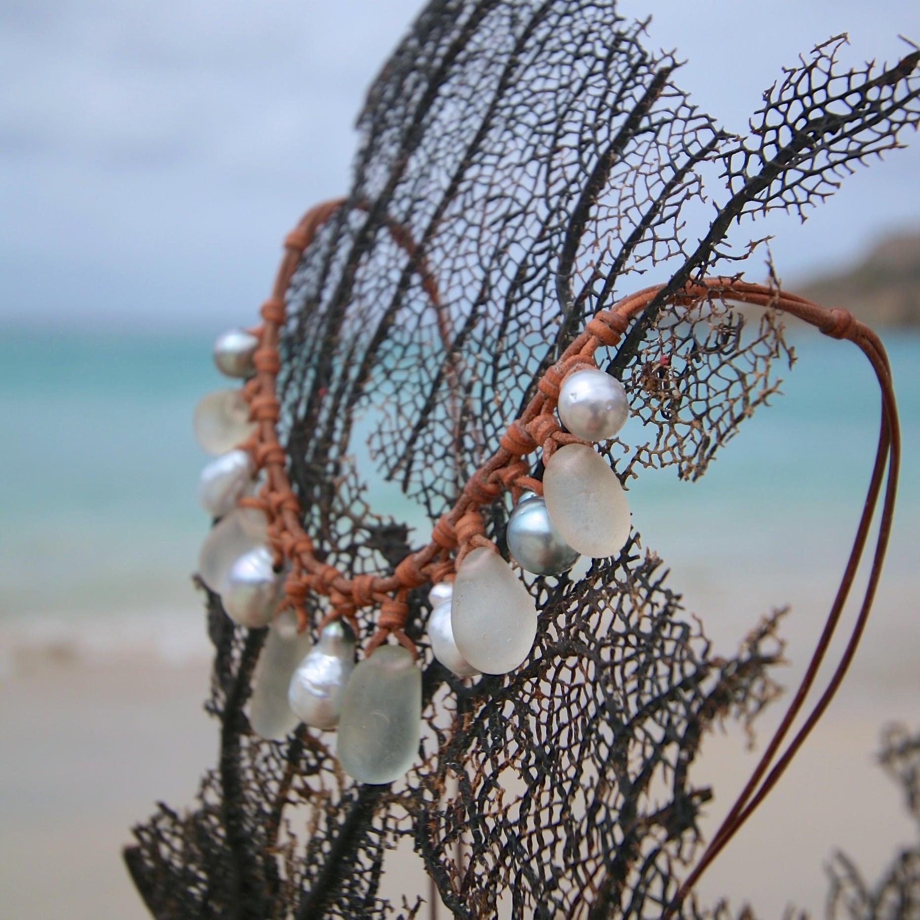 sea glass pearls St Barths jewelry