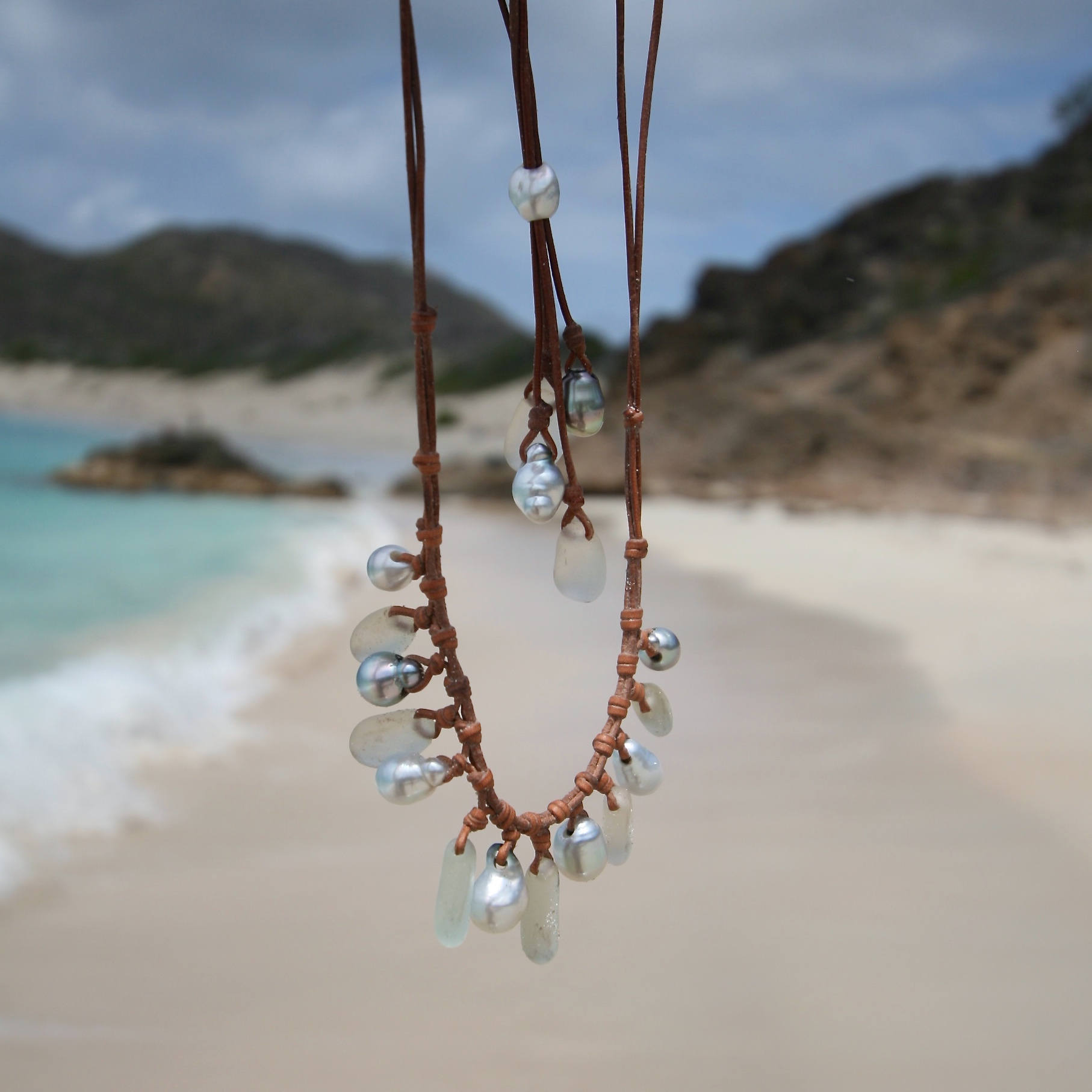 Sea glass necklace St Barths jewelry