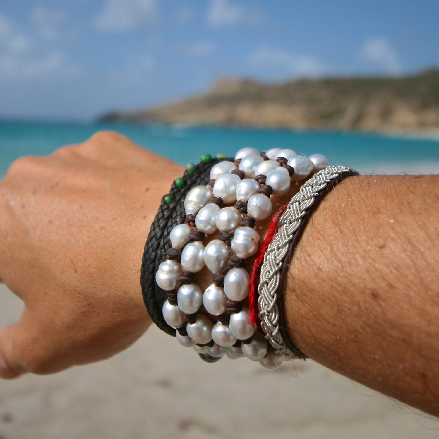 white leathered pearls st barths jewelry