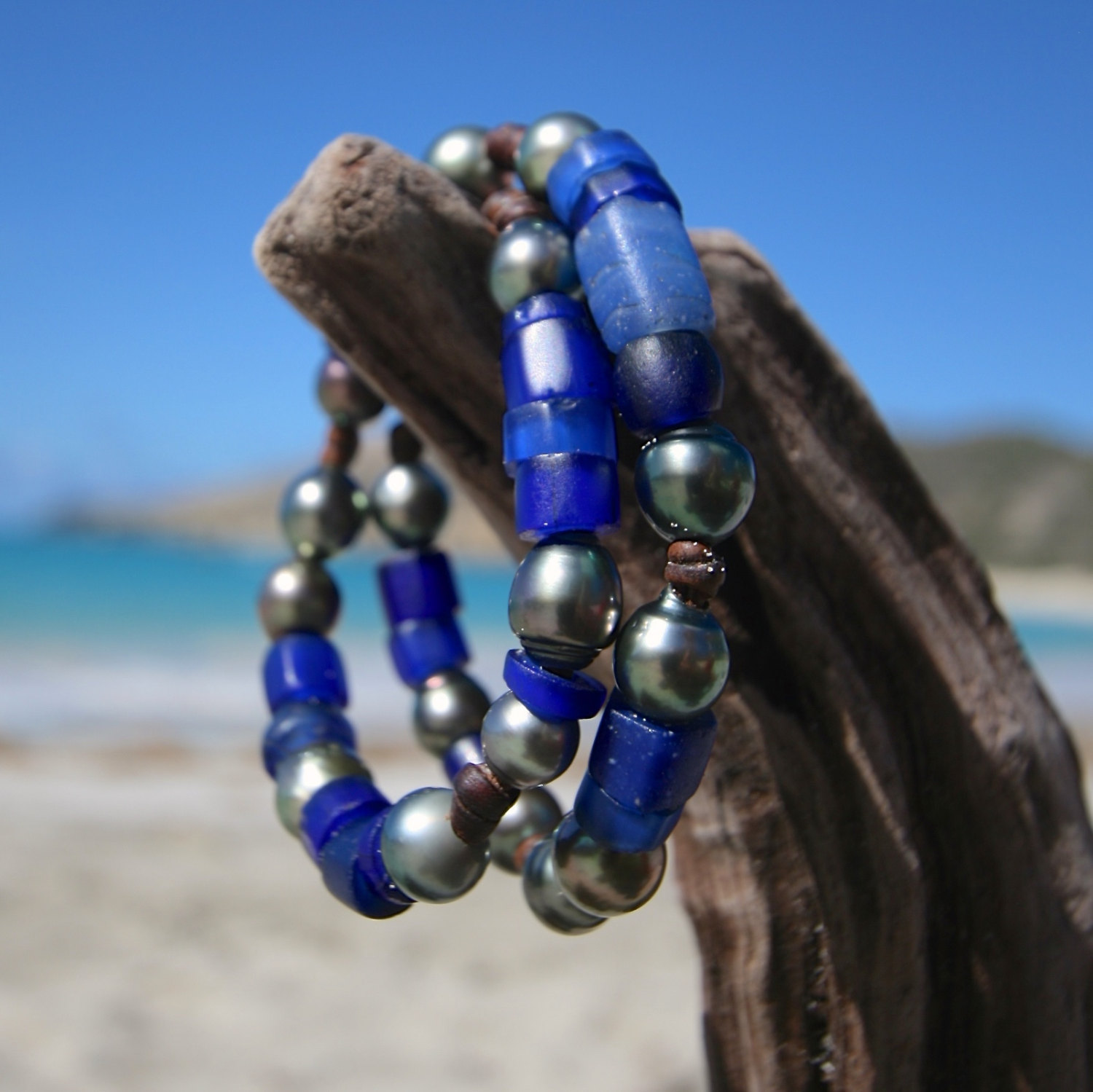 Double leather wrap bracelet of ancient African trade beads and 16 Tahitian black cultured pearls, St Barts jewelry, seaside, island style