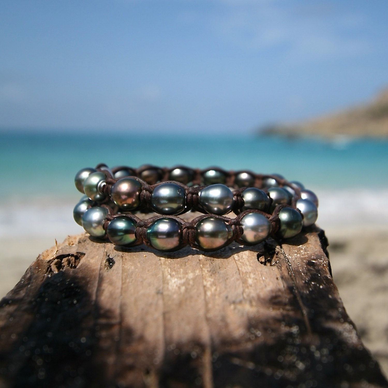 Double wrap of 32 Tahitian pearls bracelet, cultured pearls, St barthelemy island design, black pearls, boho, beach jewelry, gypsy chic,
