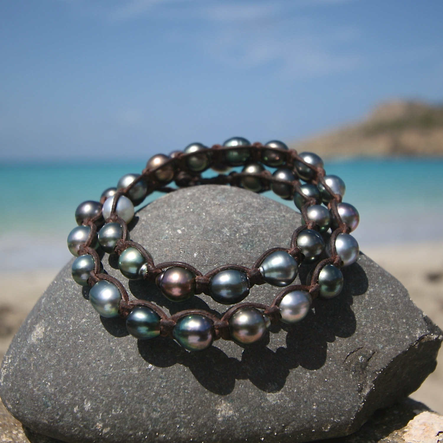 double leather wrap St Barths jewelry