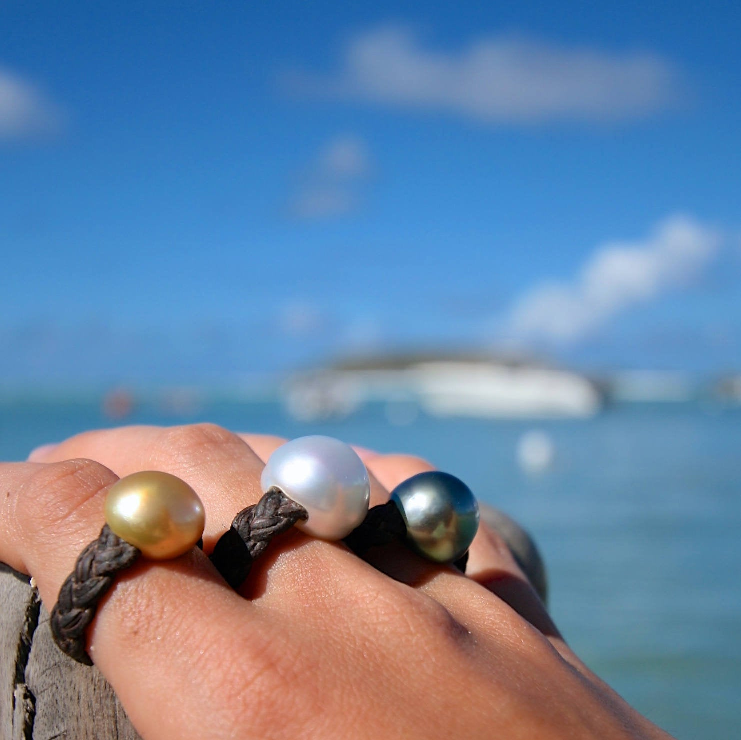 Fine pearl ring made to order and strung on leather, minimalist jewelry from St Barth island, bohochic beach jewelry, handmade unique rings