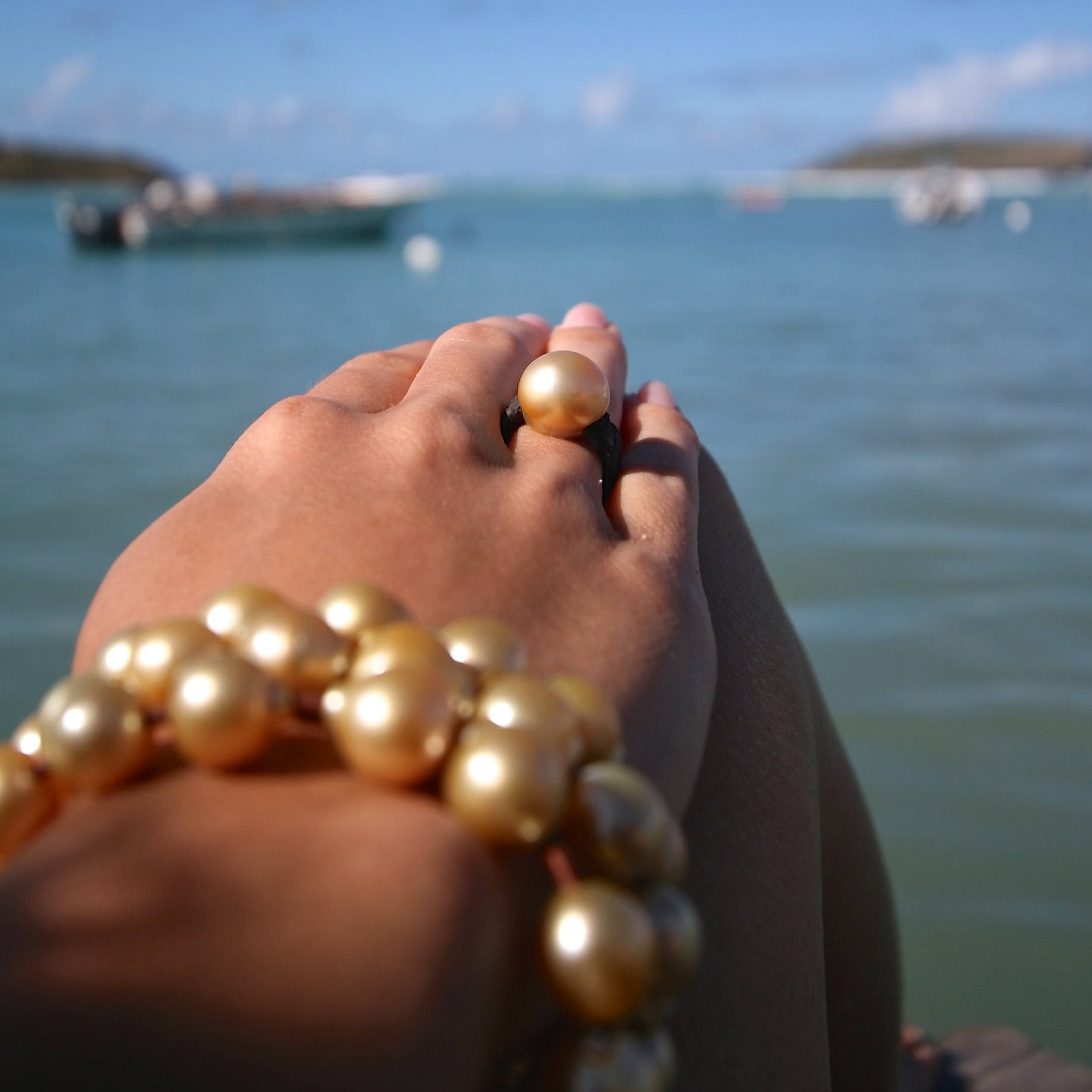 Gold pearls rings st barth jewelry