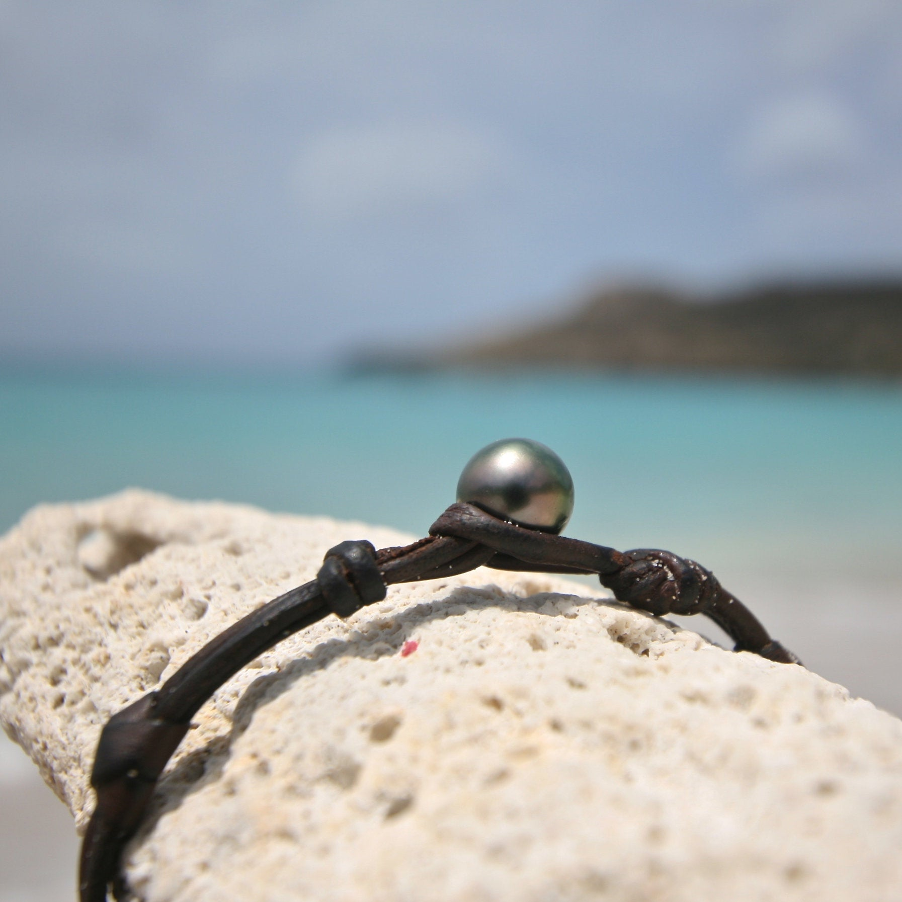 St Barth jewelry leather and pearls bracelet