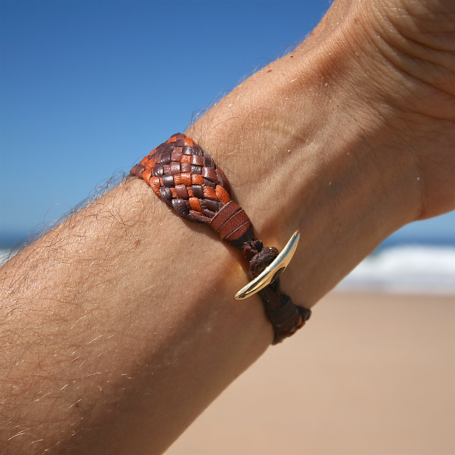 St Barths jewelry braided gold leather