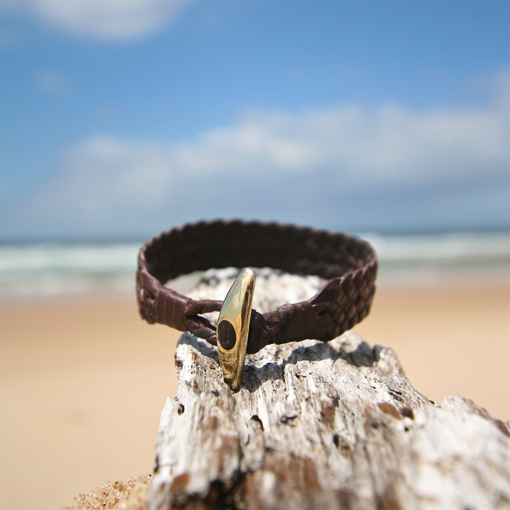 leather bracelet and gold from st barth