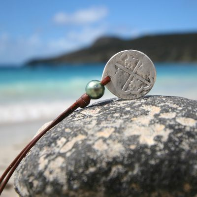 ancient coins leather necklace st barth