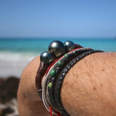 leather and pearls bracelet st barth jewelry