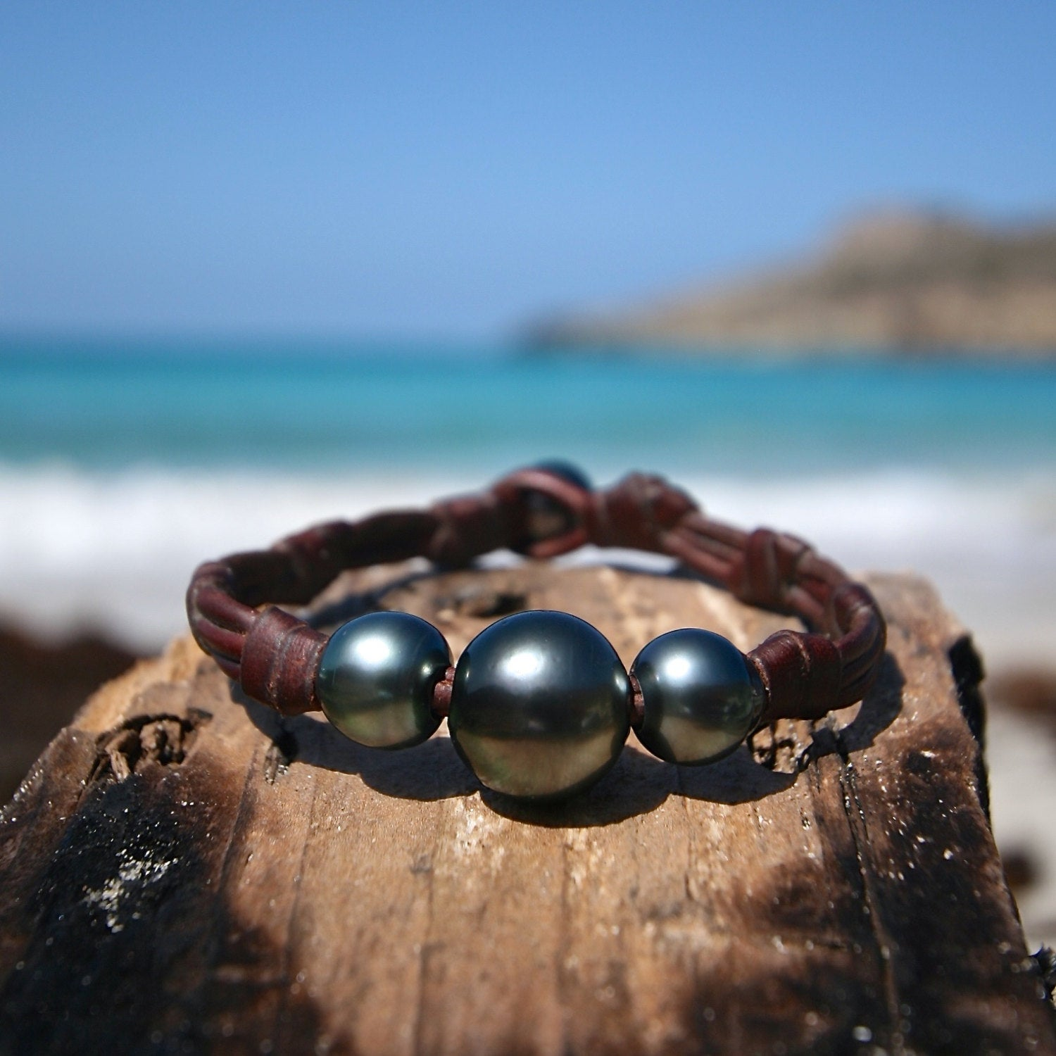 black pearls leather jewelry st barth