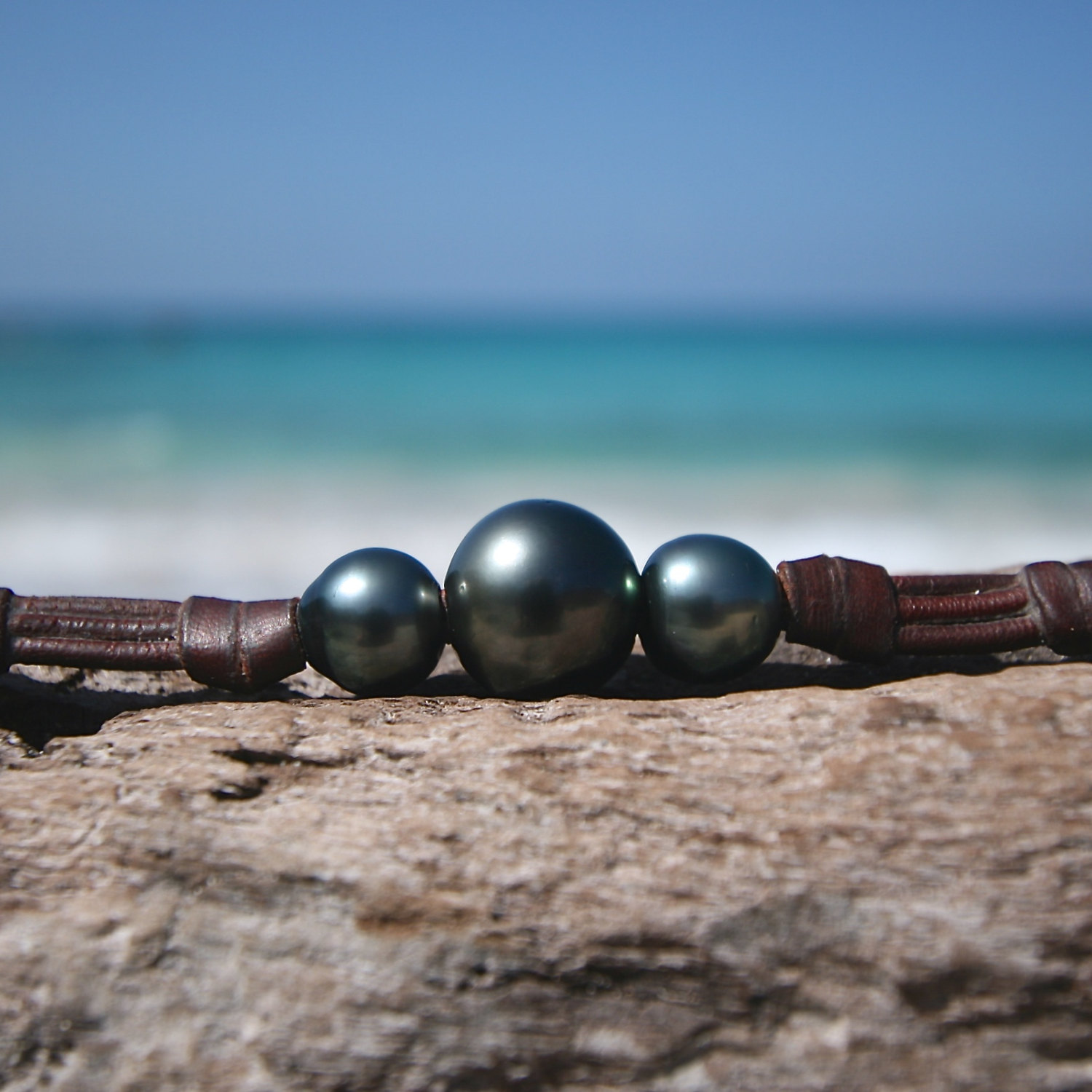 St Barth tahitian pearl leather jewelry