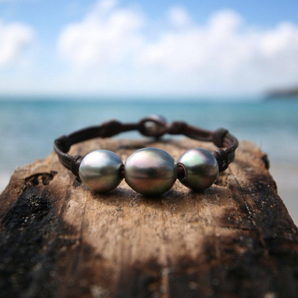 St Barts leather and pearls jewelry