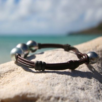 St Barts jewelry pearls leather bracelet
