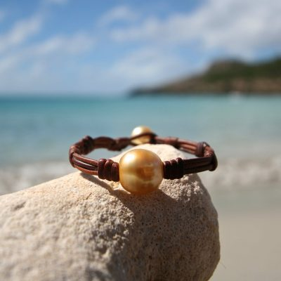 St Barths jewelry Tahitian pearls and leather