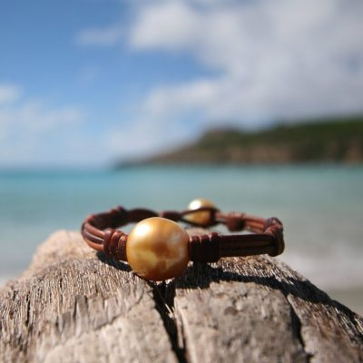 St Barth jewelry Tahitian pearls and leather