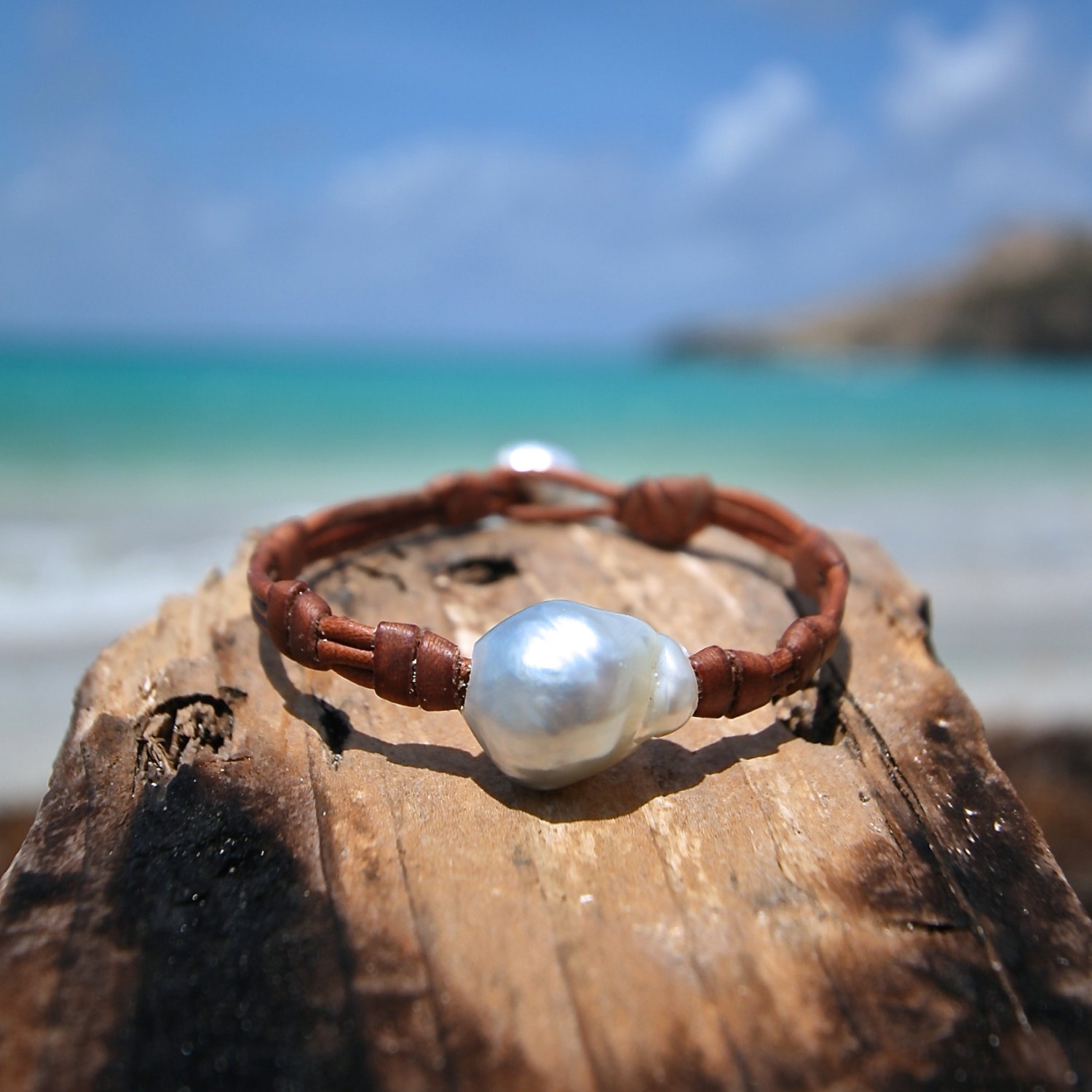 HUGE silvery / grey south sea pearl strung on leather, St Barts island seaside jewelry, leathered pearl, coastal beach style, bohemian chic