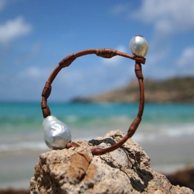 pearl and leather St Barth jewelry