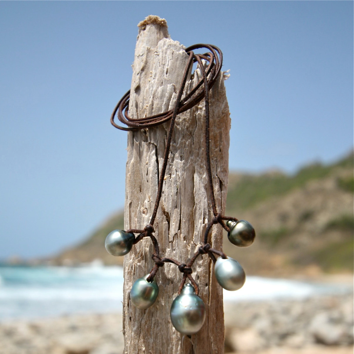 st barth leather pearls necklace