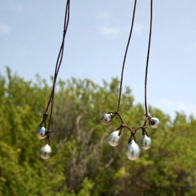 pearls and leather necklace St Barth jewelry
