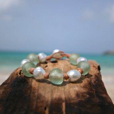 leather pearls bracelet St Barth jewelry