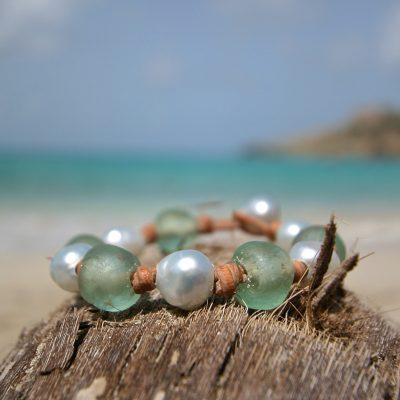 tahitian pearls & leather St Barth jewelry