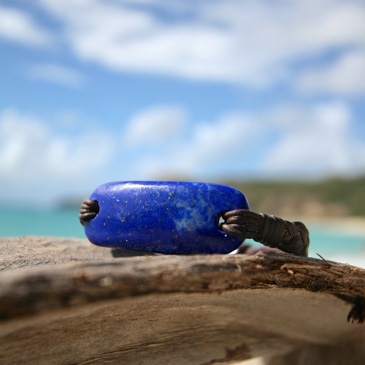Leather bracelet with handmade polished LAPIS Lazuli & Tahitian pearl clasp, black pearl, bohochic and beach jewelry, St Barts jewelry, love