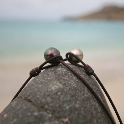 St Barth pearl leather jewelry tahitian