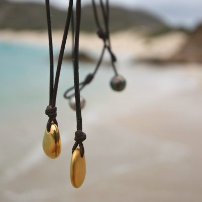 St Barth jewelry gold leather necklace