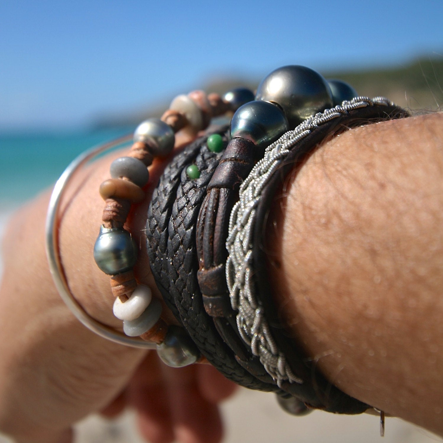 pearls jewelry & leather from St Barth