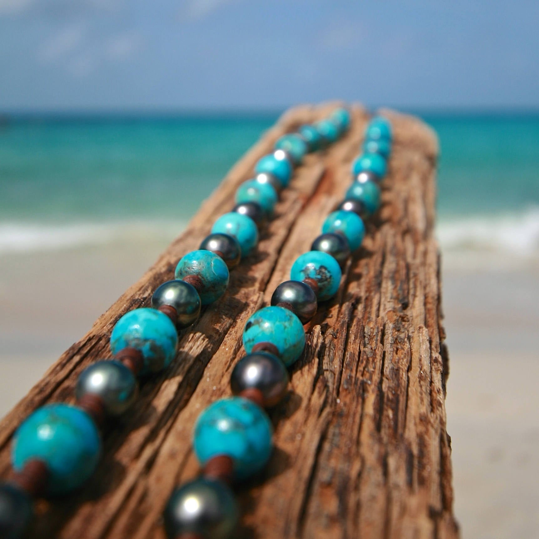pearls turquoise sautoir St Barts jewelry