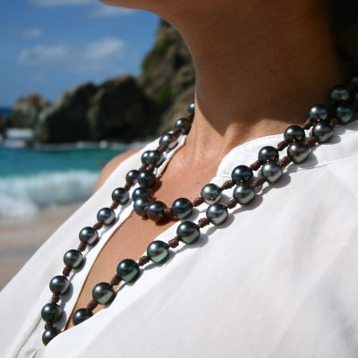 black pearls leather necklace jewelry