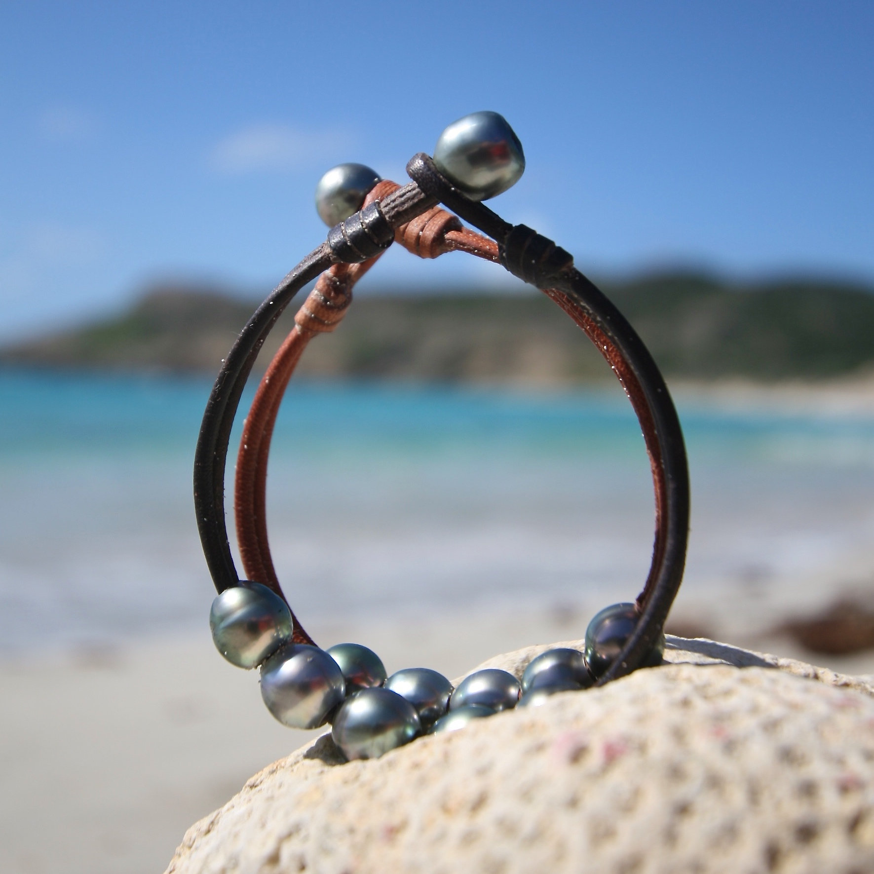 bracelet pearl and leather jewelry st barth