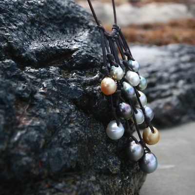 leathered pearls grappe St Barts jewelry
