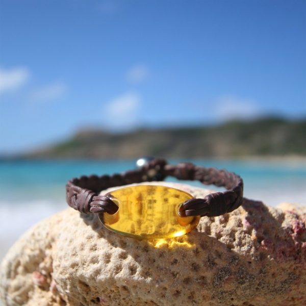 leathered amber jewelry st barth