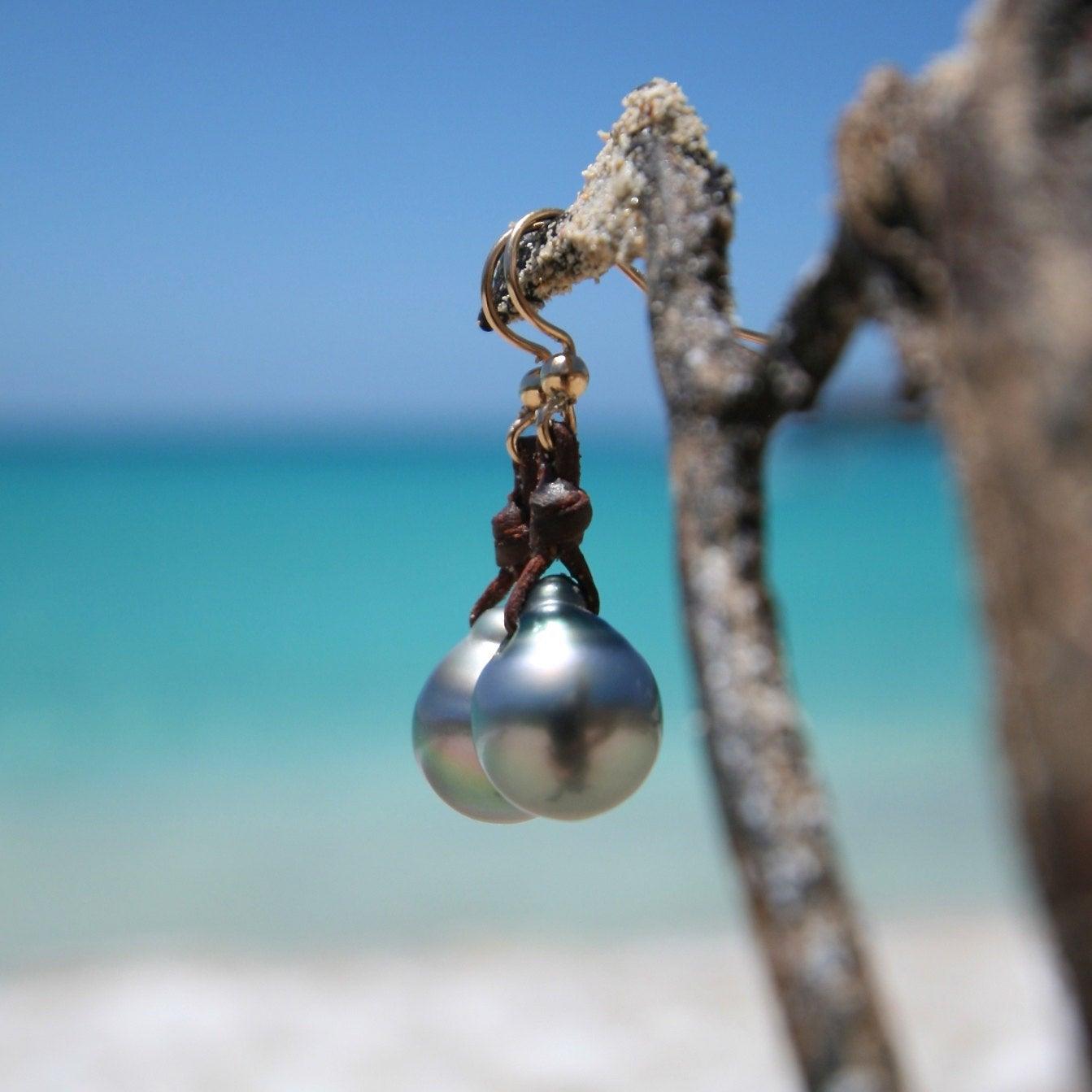 Black pearls earrings st barth jewelry