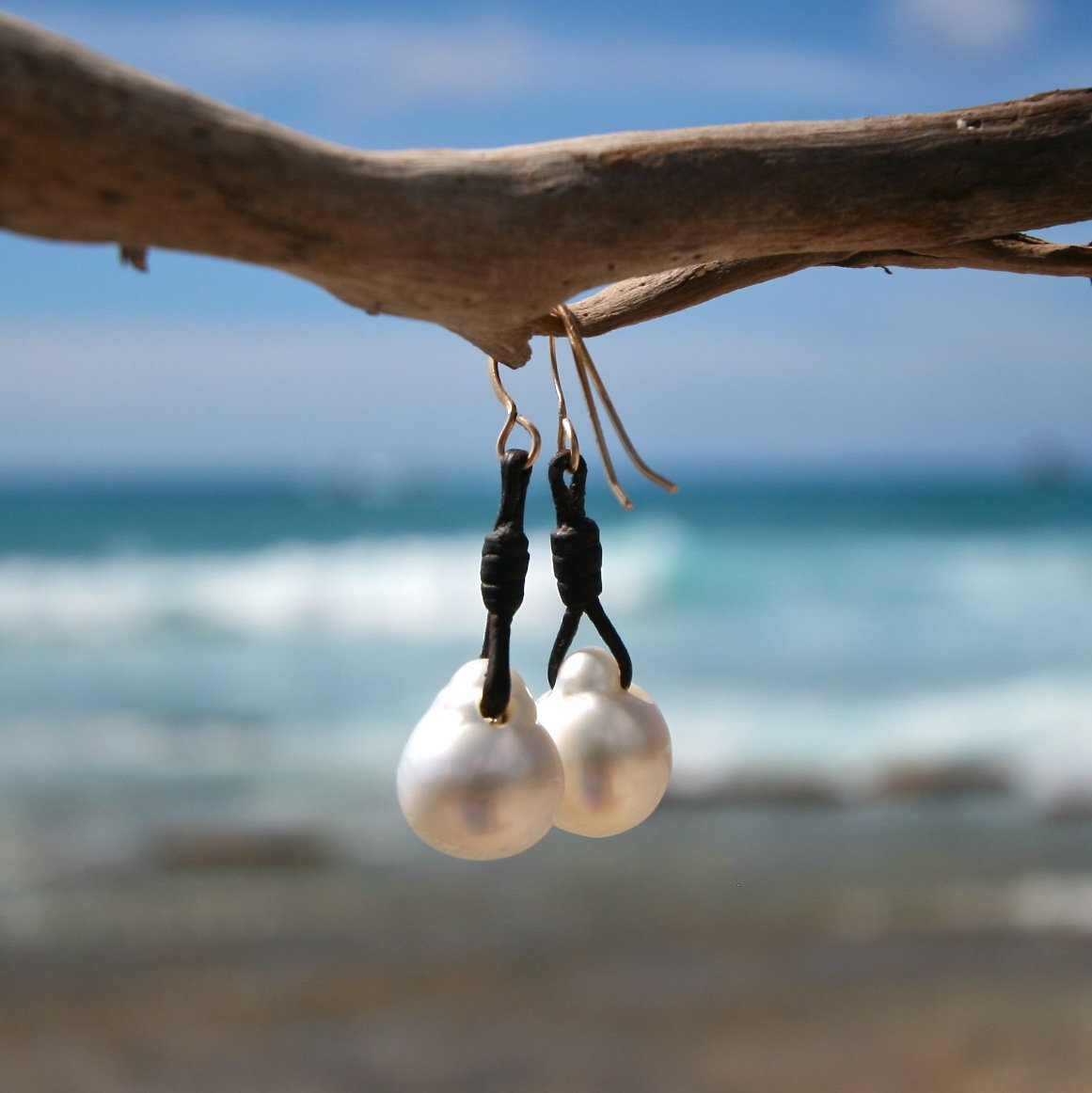 earrings pearls and leather st barth